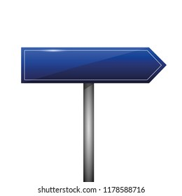 blue blank direction signpost sign arrow right side vector illustration EPS10
