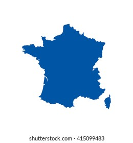 Blue blank France map. Flat vector illustration. EPS10.