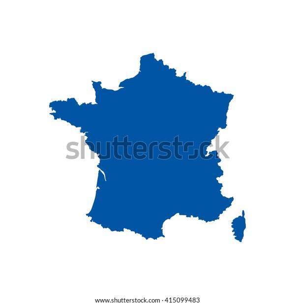 Sininen Tyhja Ranskan Kartta Littea Vektorikuva Arkistovektori