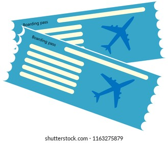 Blue blank of plane ticket. Airplane ticket or boarding pass icon. Vector illustration.