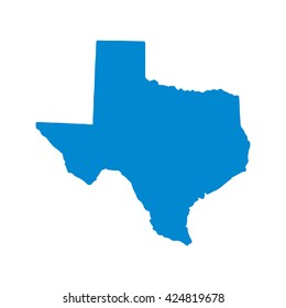 Blue blank Texas map. Vector illustration, EPS10.