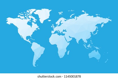 blue blank world map