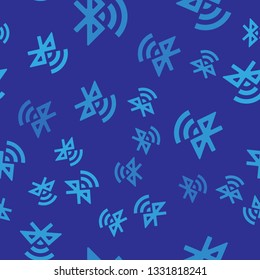 Blue Bluetooth connected icon isolated seamless pattern on blue background. Vector Illustration