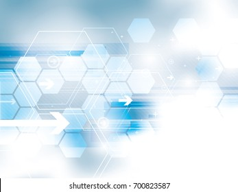 Blue blurred abstract background. Hexagons desing, arrows and rectangles shapes and technology symbols. Background with concept of technology, motion and communication, innovation and new business.