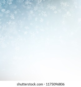 Blue blurred winter banner with snow flakes. EPS 10