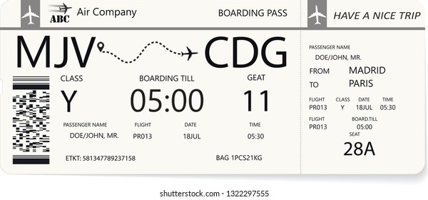 Blue boarding pass or airplane ticket isolated on a white background. Vector illustration. Travel concept