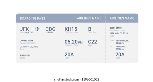 Blue boarding pass isolated on a white background. Vector illustration.
