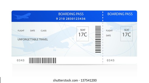 Blue boarding pass (ticket, traveler check template) with aircraft (airplane or plane) silhouette on background. Travel by Aerial Transport. Enjoy your vacation. Isolated vector on white