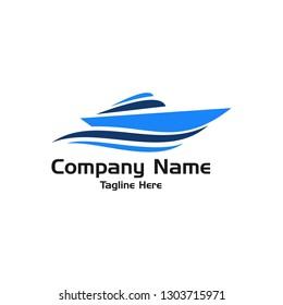 Blue Boat  Logo Vector