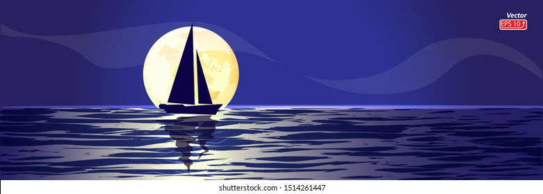 Blue Boat with sail in night sea, ocean isolated on blue background, yellow moon vector illustration