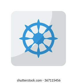 Blue Boat Wheel icon on grey rounded square button on white