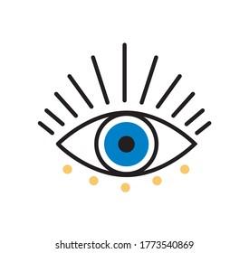 Blue bohemian eye doodle, vector eye with lashes on white background