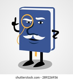 Blue book with a face a monocle and a mustache
