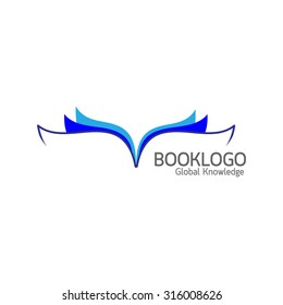 Blue book logo on white background : Education concept vector