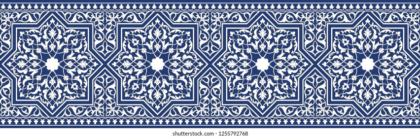 Blue border in Oriental style. Used for frame, tile and Oriental designs.