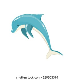 Blue Bottlenose Dolphin Jumping For Entertainment Show. Realistic Aquatic Mammal Vector Drawing