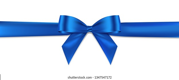 Blue bow realistic shiny satin and ribbon horizontal line with shadow for decorate your greeting card,website or gift card, vector EPS10 isolated on white background.