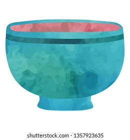 Blue bowl. Cartoon clip art illustration on white background. Watercolour imitation.