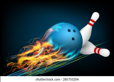 Blue Bowling Ball in Flames on a Dark Background. Vector illustration