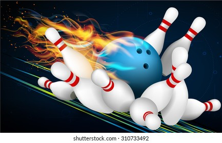 Blue Bowling Ball in Flames on a Dark Background and Skittles at the End of the Track. Effective vector illustration for your design.