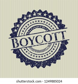 Blue Boycott rubber stamp with grunge texture
