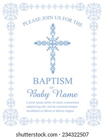 Blue Boy's Baptism/Christening/First Communion/Confirmation Invitation with Cross Design - Vector
