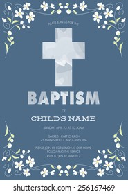 Blue Boy's Baptism/Christening/First Communion/Confirmation Invitation with Cross Design