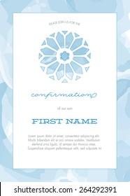 Blue Boy's Confirmation, Baptism, Christening or First Communion Invitation with Stained Glass Window and Watercolor Stroke Background - Vector