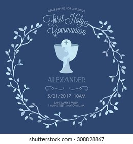 Blue Boy's First Holy Communion Invitation Template with Watercolor Floral Wreath - Vector