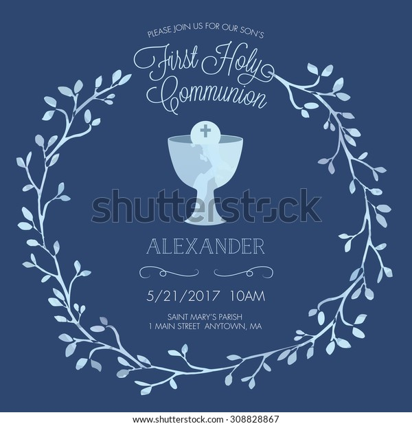 blue boys first holy communion invitation stock vector