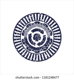 Blue brain storm icon inside distress rubber seal