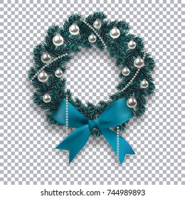A blue branch of spruce in the form of a Christmas wreath with shadow and snowflakes. Blue bow, silver balls and beads on the background checkered. Vector illustration