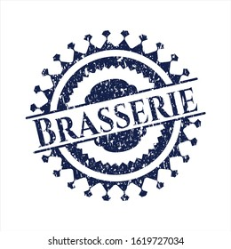 Blue Brasserie rubber seal with grunge texture
