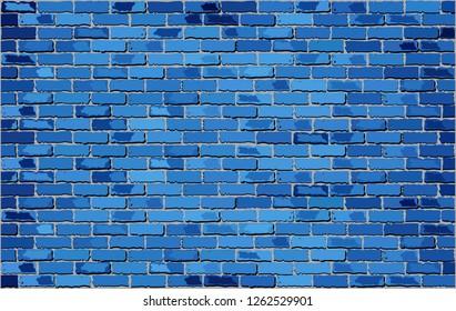 Blue Brick Wall - Illustration,  Brick wall background