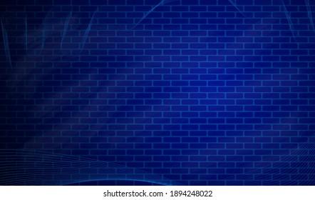 Blue brick wall seamless Vector illustration background.