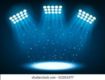Blue bright stadium spotlights on dark background Vector Illustration