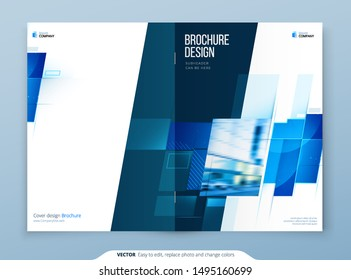 Blue Brochure Cover Template Layout Design. Corporate Business Brochure, Annual Report, Catalog, Magazine, Flyer Mockup. Creative Modern Bright Brochure Concept with Square Shapes