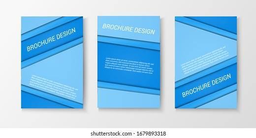 Blue brochure covers design with slanting lines and frames. Vector illustration
