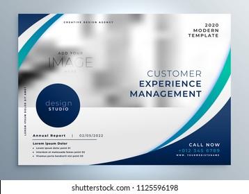 blue brochure design with stylish wavy shape