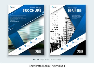 blue brochure template design layout cover mockup page concept