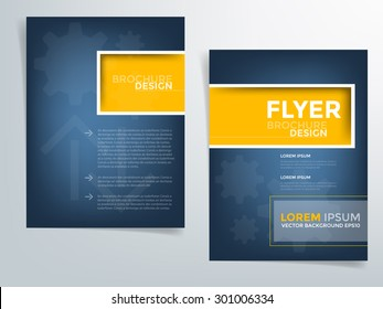 Blue brochure template flyer design background and yellow square box element and space for add picture and add text for engineer and industry article for your artwork in A4 paper Size , vector eps10