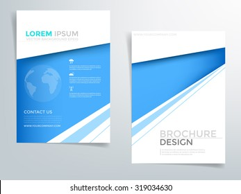 Blue brochure template flyer design with blue element and network concept with space for text and message design in A4 size