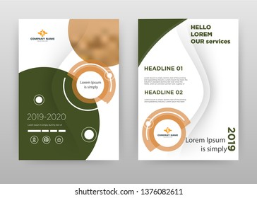 Blue brown business brochure flyer design. Multipurpose abstract brochure template cover. Geometric circular round leaflet vector design. Annual report presentation. Vertical A4 size. EPS