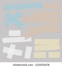 Blue, brown, white and yellow adhesive, sticky, masking, duct tape, paper pieces for text on gray squared background