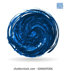 Blue brush stroke and texture. Grunge vector abstract hand - painted element. Underline and border design.