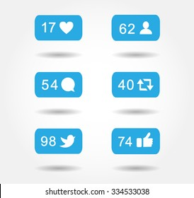Blue bubble notification icon set for following websites,blog, interfaces facebook twitter instagram. Vector illustration social media eps 10