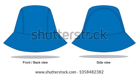 blue bucket hat template stock vector royalty free 1058482382