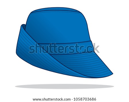 blue bucket hat template stock vector royalty free 1058703686