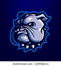 Blue Bulldog for esport and sport mascot logo isolated on dark Blue Background