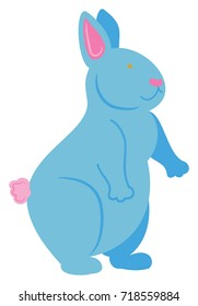Blue Bunny standing on hind legs with a pink tail